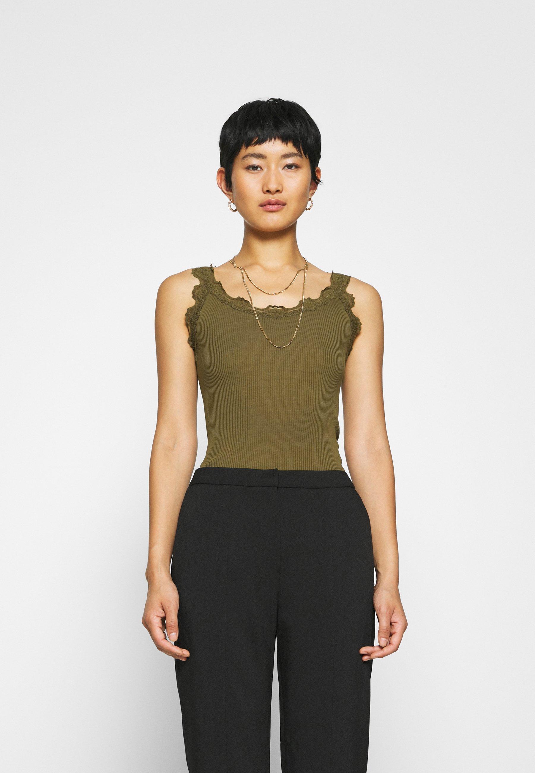 Light brown Silk Top Regular Topper  Rosemunde  Singlet - Dameklær er billig