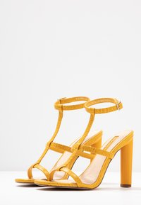 Topshop Wide Fit - WIDE FIT RIVER STRAPPY BLOCK - High heeled sandals - yellow - 4