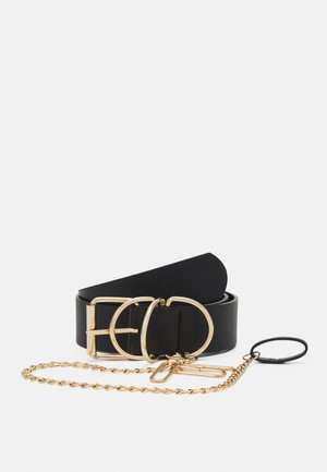 PCSTELLA WAIST BELT - Ceinture taille haute - black/gold-coloured
