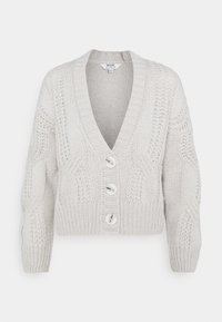 Dorothy Perkins Petite - CABLE V NECK BUTTON - Cardigan - grey - 0