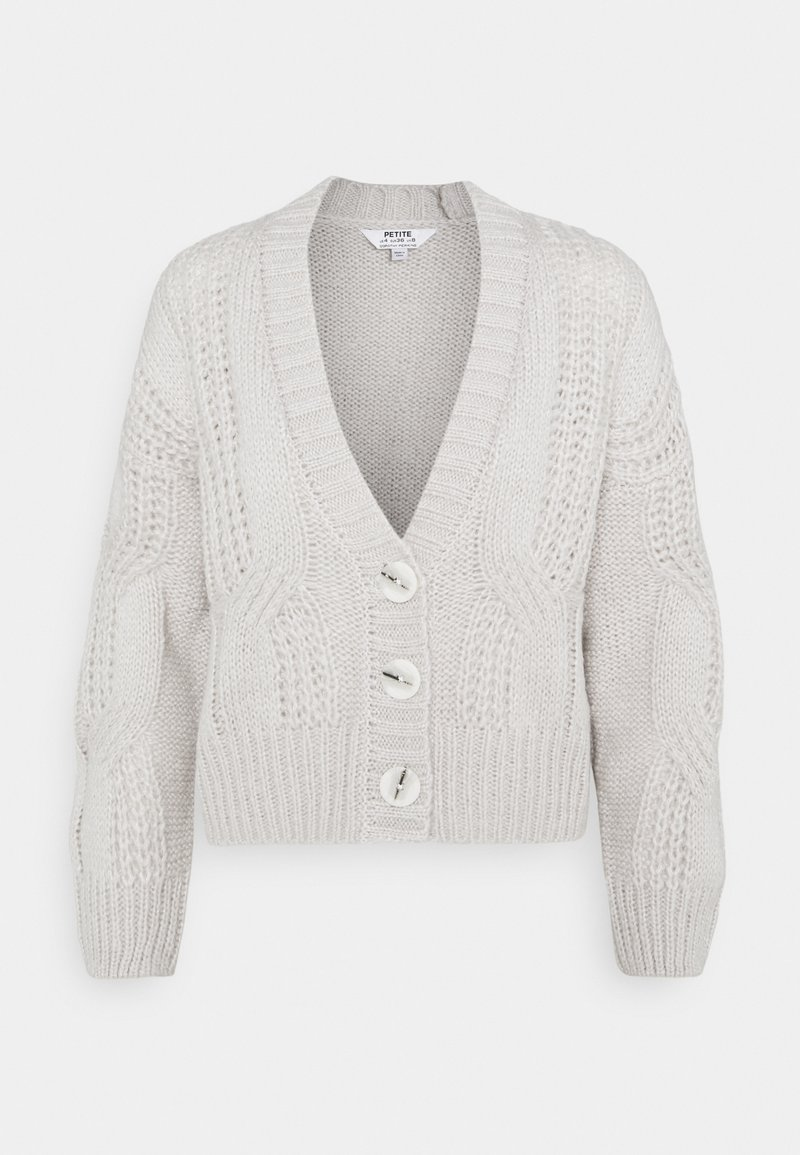 Dorothy Perkins Petite - CABLE V NECK BUTTON - Cardigan - grey