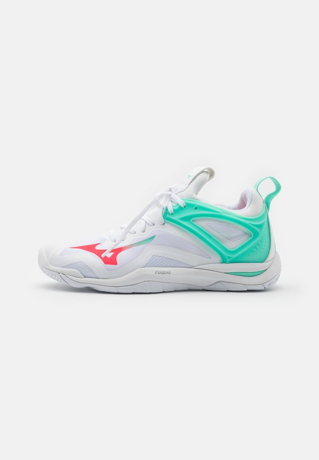 WAVE MIRAGE 3 - Handballschuh - white/fiery coral/ice green