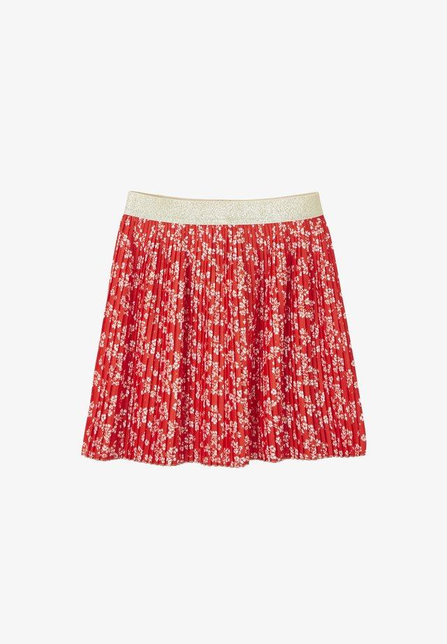 A-line skirt - rot/rosa geblümt