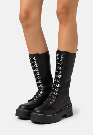 LACE UP EYELET CHUNKY MID BOOTS - Bottes à lacets - black