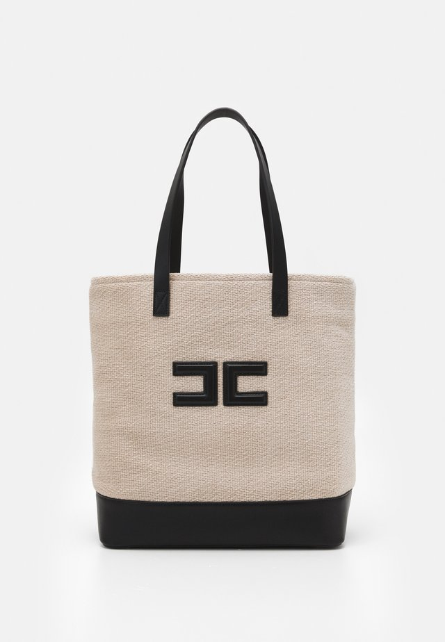 LOGO SHOPPER - Tote bag - calce/nero