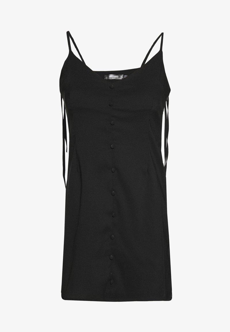 Missguided Petite - BUTTON THRU TIE STRAP CAMI DRESS - Day dress - black