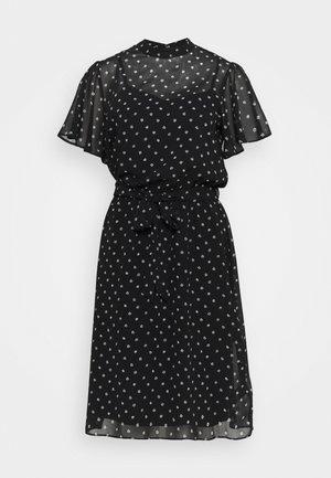 FLORAL FIT & FLARE DRESS - Day dress - black
