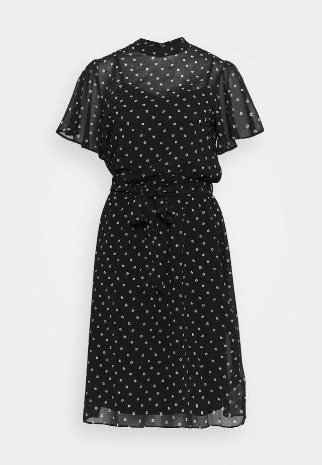 FLORAL FIT & FLARE DRESS - Day dress - black
