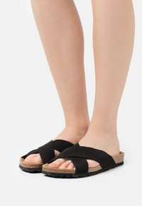 ONLY SHOES - ONLMADISON LEATHER SLIP ON - Slippers - black - 0