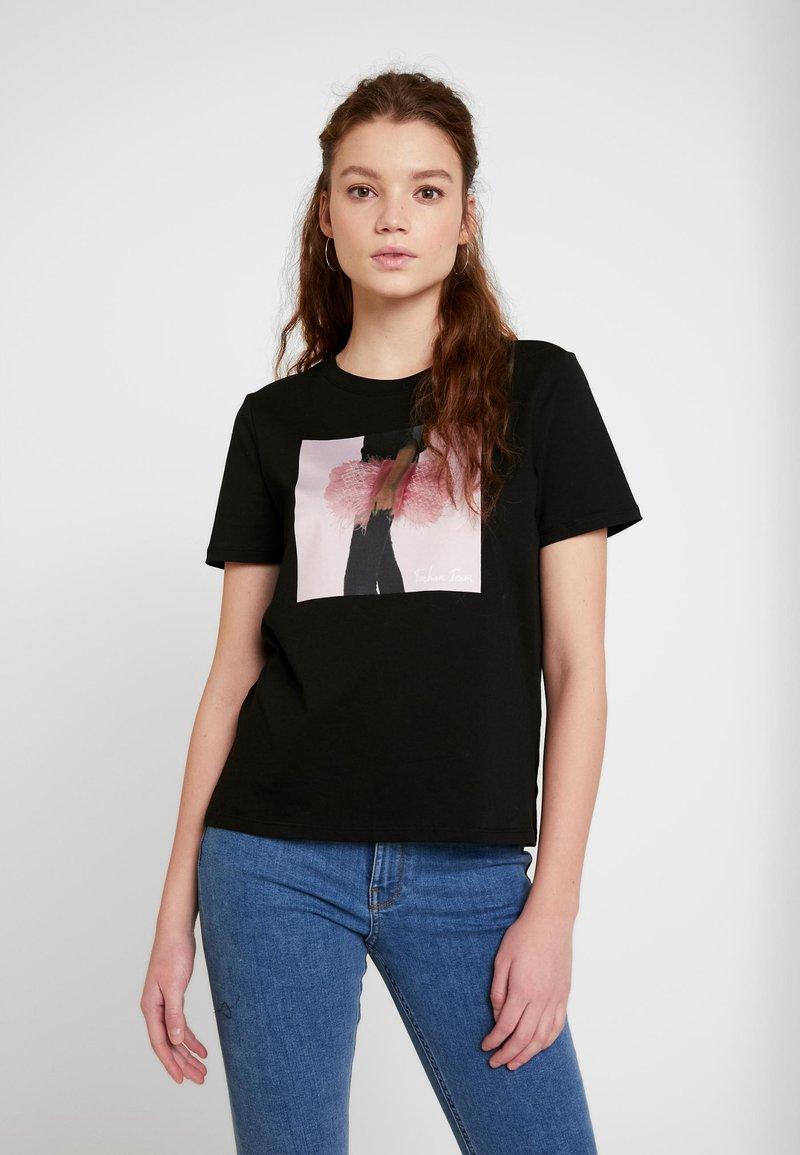 Vero Moda - VMFLANSA - T-shirt imprimé - black/pink bag