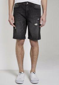 TOM TAILOR DENIM - Denim shorts - used dark stone black denim - 1