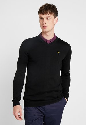 GOLF V NECK - Stickad tröja - true black
