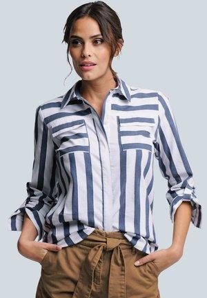 Button-down blouse - weiß/blau