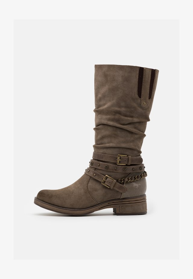 Cowboy- / Bikerboots - taupe