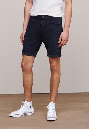 Denim shorts - mottled dark blue