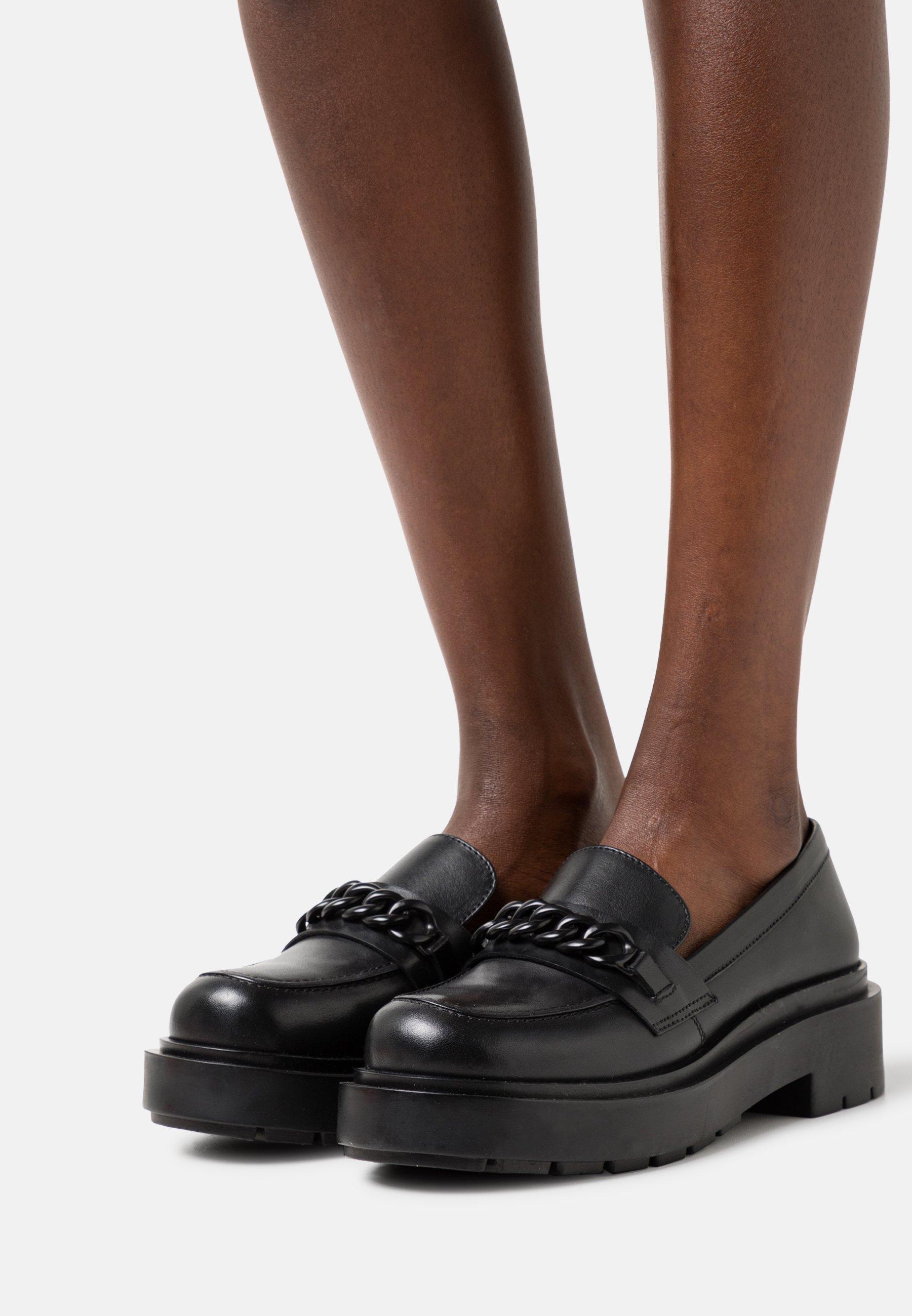 Women LEATHER - Slip-ons - black
