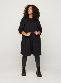 Zizzi - WITH 3/4 LENGTH SLEEVES AND A HOOD - Day dress - black - 1