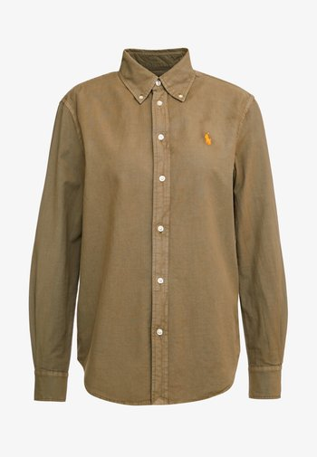 RELAXED LONG SLEEVE SHIRT - Button-down blouse - olive