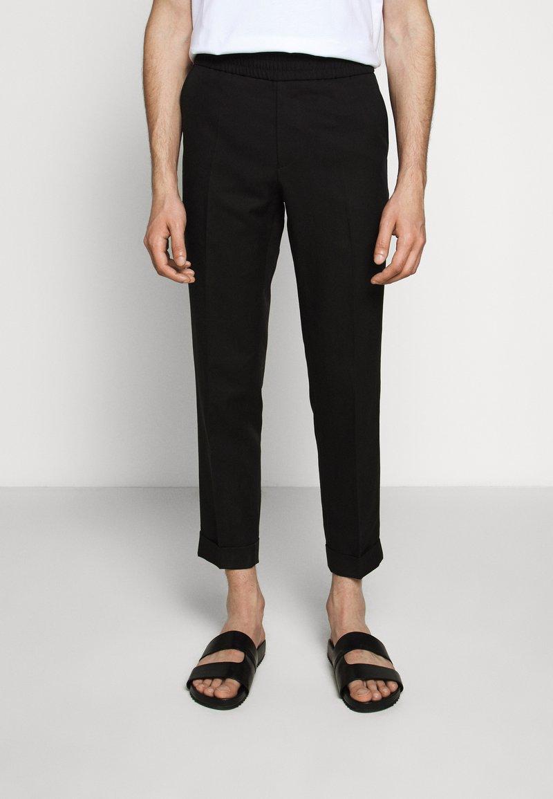 Filippa K - TERRY CROPPED SLACKS - Trousers - black