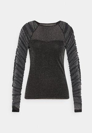 RUCHED SLEEVE GLITTER TOP - Langarmshirt - black
