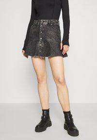 Diesel - DE BETHY SKIRT - Denim skirt - washed black - 0
