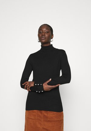 PEARL BUTTON CUFF ROLL NECK JUMPER - Jumper - black