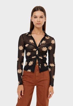 Button-down blouse - beige/black