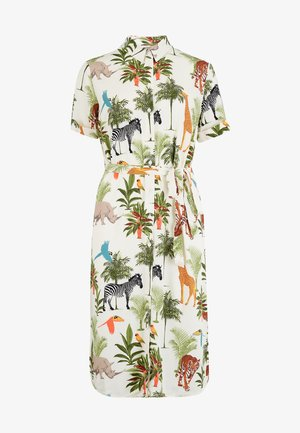 SHIRT DRESS JUSTINE JUNGLE ANIMALS - Shirt dress - cream