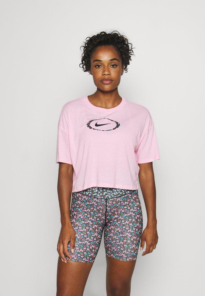 Nike Performance - DRY CROP FEMME - Camiseta estampada - pink/pink glow/black