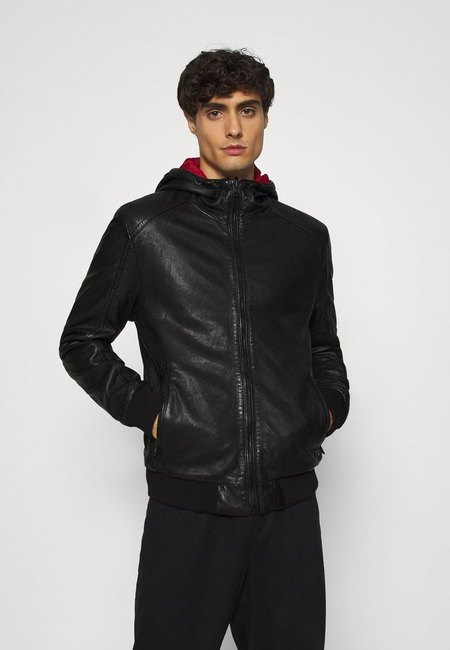 GRAYDON - Leather jacket - black
