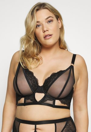 FENELLA GRAPHIC LINES LONGLINE BRA WITH EYELASH - Underwired bra - black