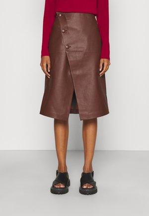 HOLLY WRAP ASYMMETRIC MIDI SKIRT - A-line skirt - chocolate plum