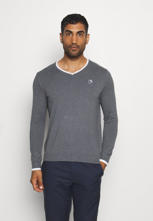 MEMBERS V NECK - Strikkegenser - iron gate heather