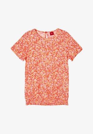 Blouse - orange floral print