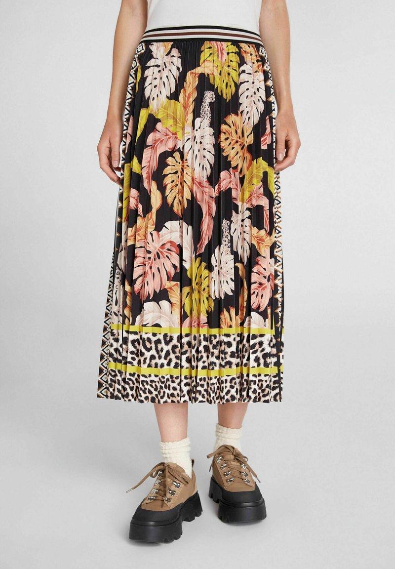 Oui - A-line skirt - black camel