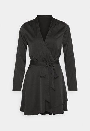 BELTED WRAP DRESS - Cocktailkjole - black