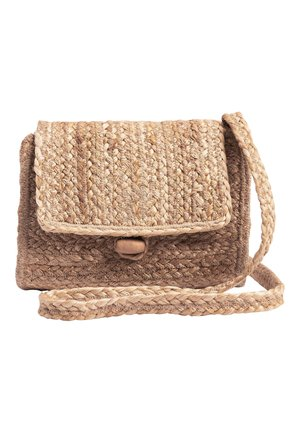 BLACK JUTE ACROSS BODY BAG - Across body bag - beige
