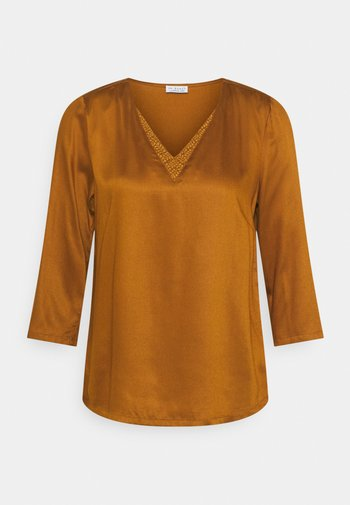 BLOUSE WITH DETAIL - Topper langermet - chai