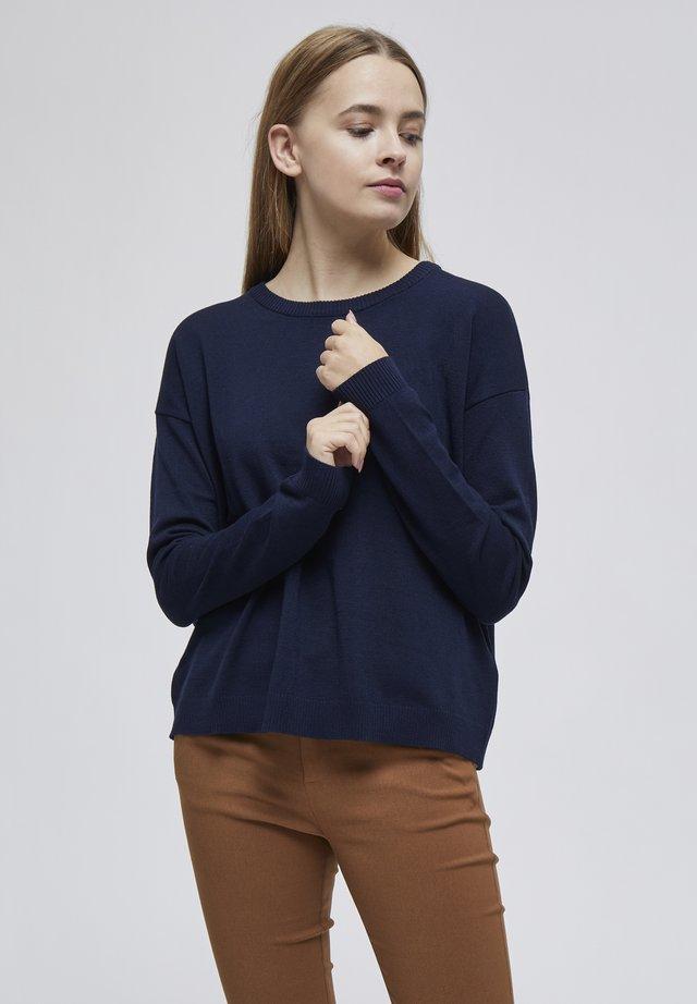 ELNE - Stickad tröja - black iris solid