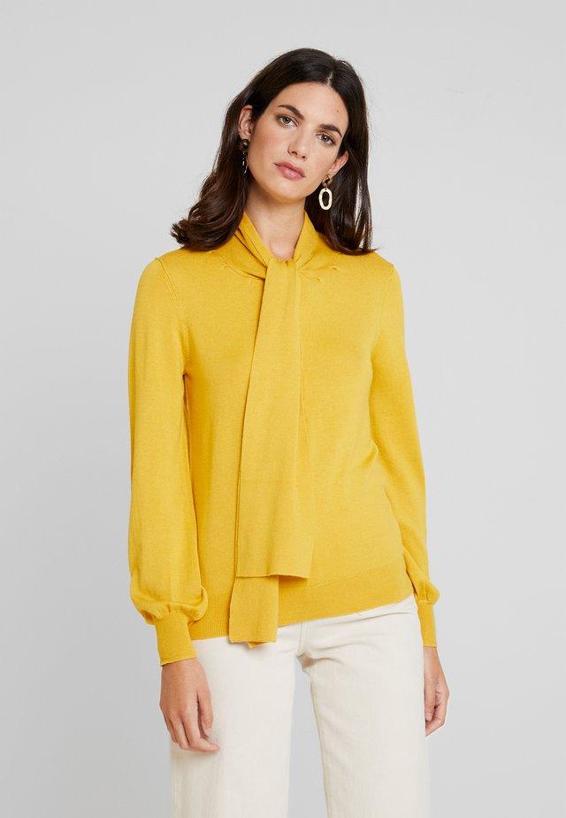 TIE NECK JUMPER - Stickad tröja - yellows