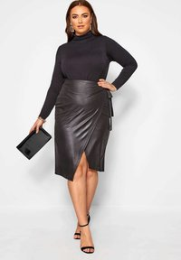 Yours Clothing - Wrap skirt - black - 1
