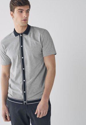 BUTTON THROUGH POLO - Shirt - grey
