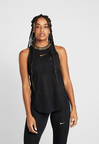 Nike Performance - TANK GLAM - Koszulka sportowa - black/metallic gold - 0