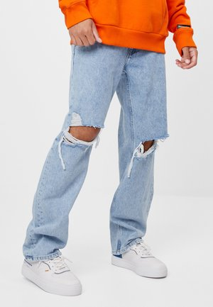 MIT RISSEN - Jeansy Straight Leg - blue denim