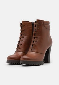 Anna Field - LEATHER - High heeled ankle boots - dark brown