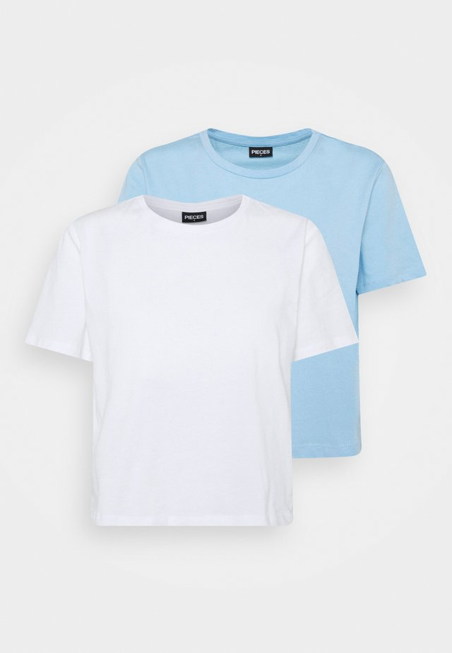 PCRINA CROP 2 PACK - T-shirt basic - bright white/blue bell