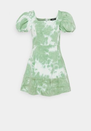 TIE DYE PUFF SLEEVE DRESS - Day dress - green