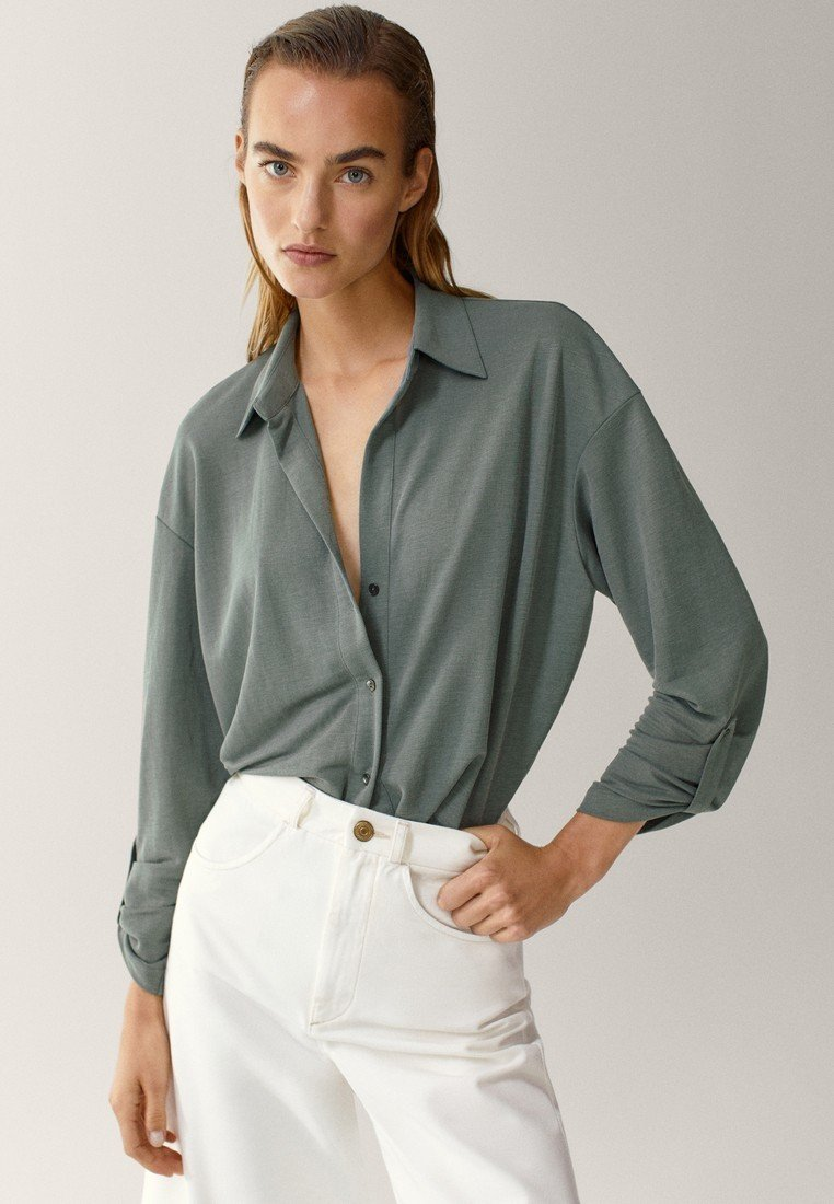 Massimo Dutti - Button-down blouse - green