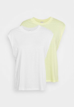 CHRIS 2 PACK - T-paita - yellow light/white
