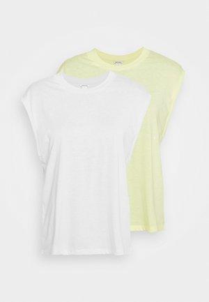 CHRIS 2 PACK - Basic T-shirt - yellow light/white